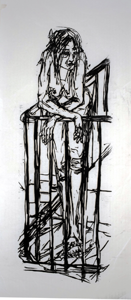 Waiting ( woodcut )